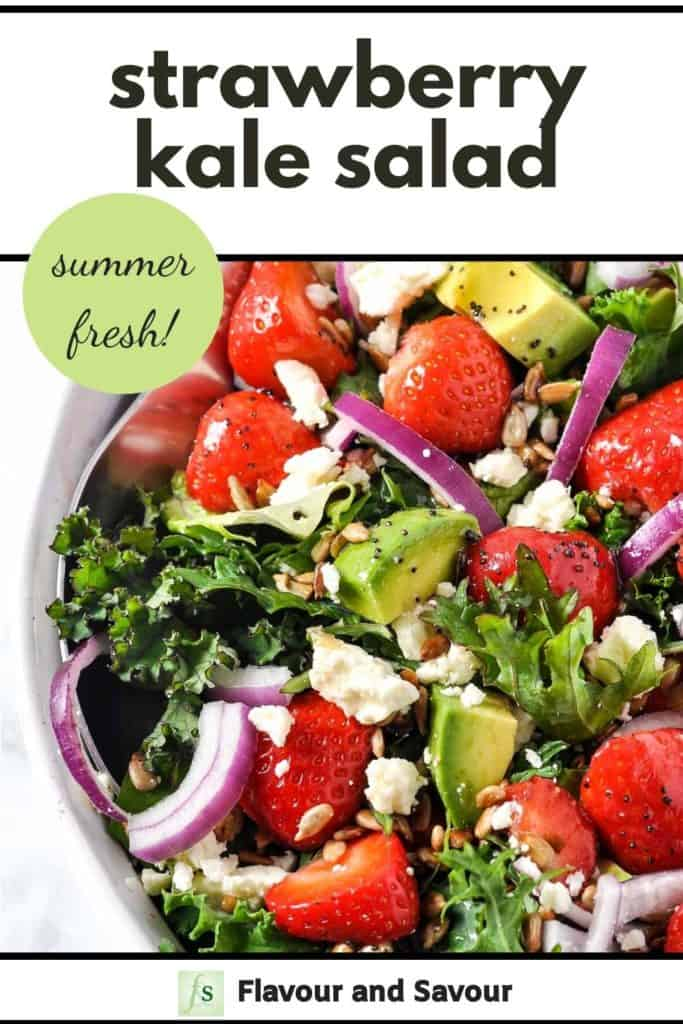 Strawberry Kale Salad Pinterest Image with text overlay