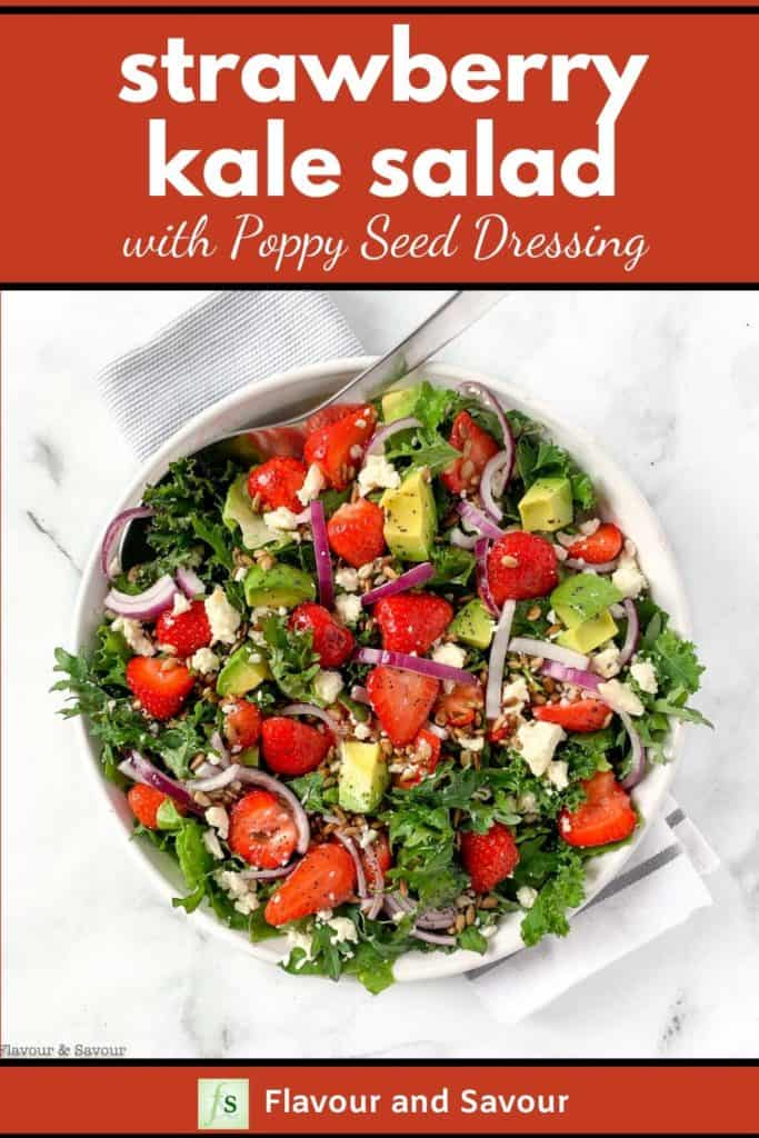 Strawberry Kale Salad with Poppy Seed Dressing with text overlay