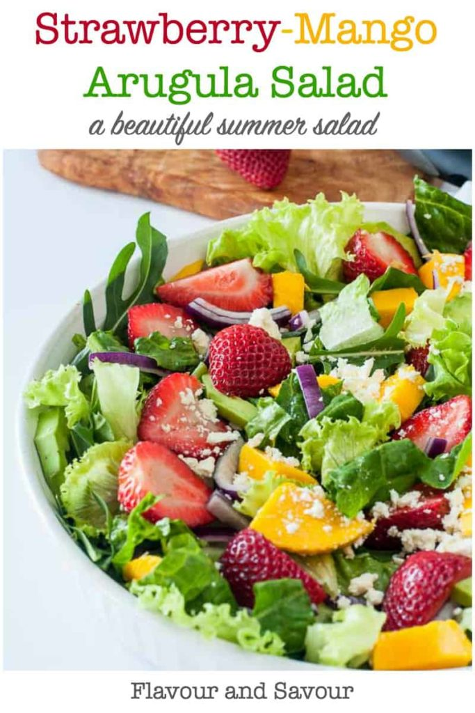Strawberry Mango Arugula Salad pin