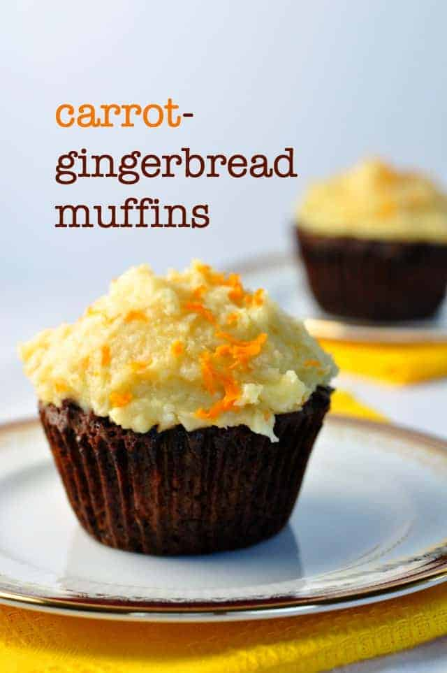 Tender, sweet gluten-free carrot-gingerbread muffins are full of fresh carrots and raisins.  With a distinct gingerbread flavour, each muffin has 1/4 cup of carrots, a power food that can give you a healthy dose of Vitamin A, plenty of fiber to cleanse your body, and antioxidants to make your skin glow. #glutenfree #grainfree #paleo #gingerbread #muffins #coconutbutter #frosting
