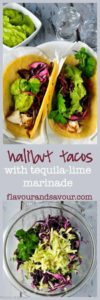 Tender flaky halibut cradled in a warm tortilla, smothered with a piquant red cabbage slaw, and topped with creamy guacamole---these halibut tacos make perfect portable hand food!