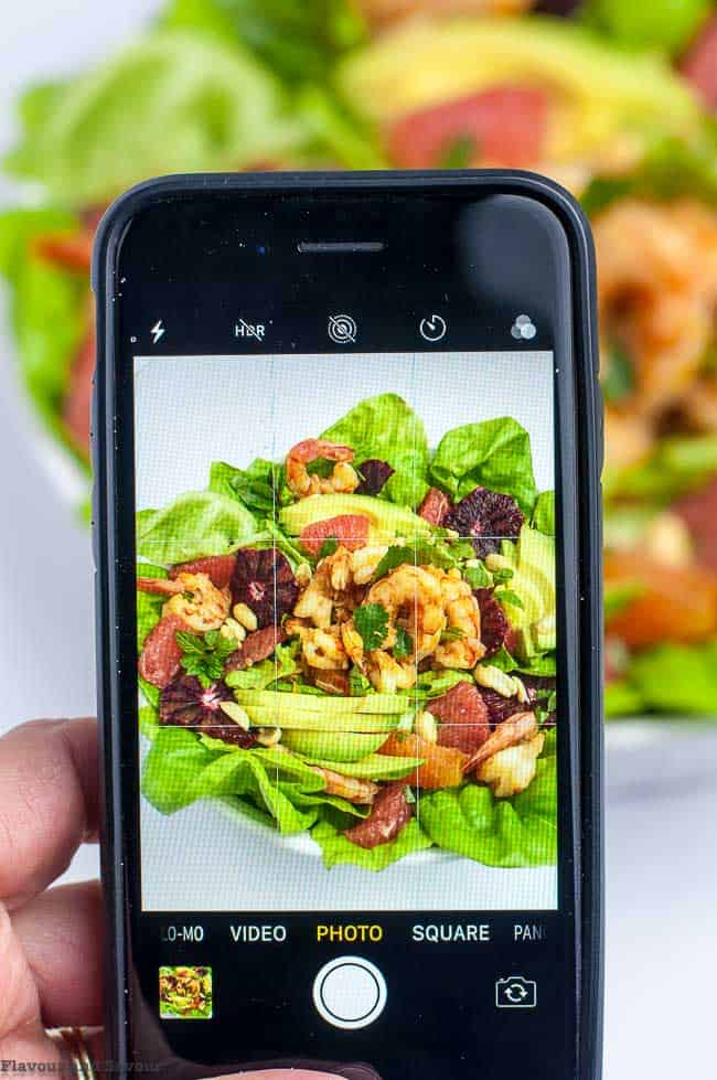 iPhone Photo of Shrimp Salad with Grapefruit and Mint