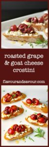 Roasted Grape and Goat Cheese Crostini with Hazelnuts and Honey. |www.flavourandsavour.com