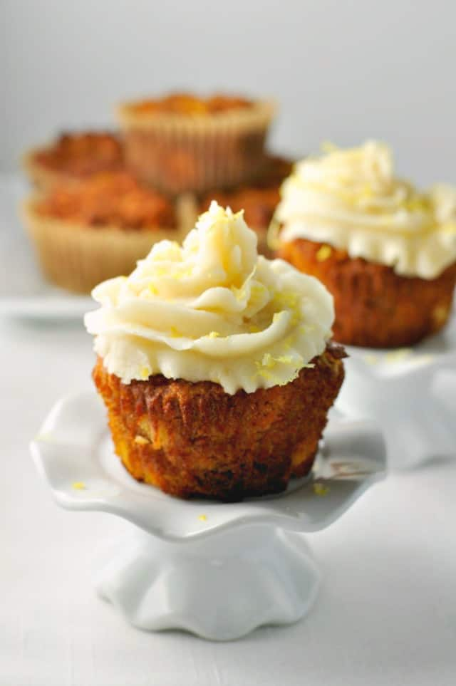 Paleo Carrot Cake Cupcakes. Moist, sweet and tender with no refined sugar or grains.