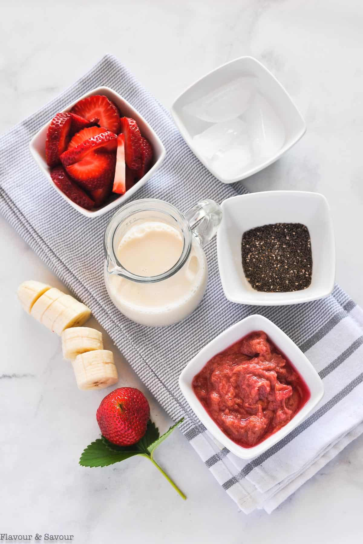 Ingredients for Strawberry Rhubarb Smoothie