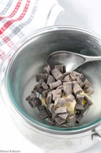 Melting chocolate over hot water to make ganache