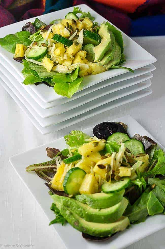 Paleo Pineapple Jicama Salad. Sweet with a little heat! Serve with your favourite spicy Tex-Mex meals for a bright refreshing contras. Suitable for Paleo diets. A spring salad with a difference! |www/flavourandsavour.com
