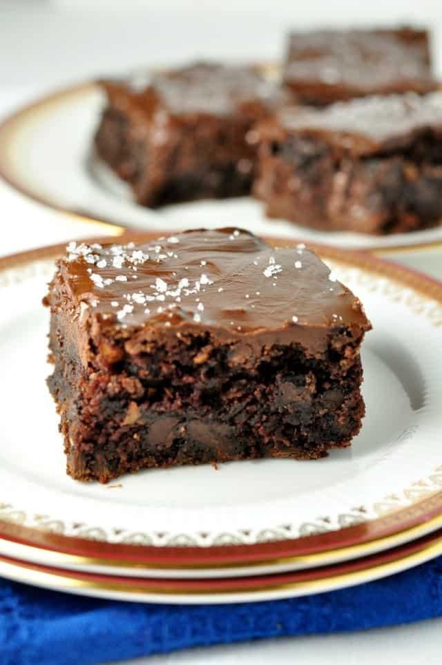Paleo Brownies with Salted Chocolate Ganache. Oh my. Grain-free, refined-sugar free, but with all the rich chocolate brownie flavour.