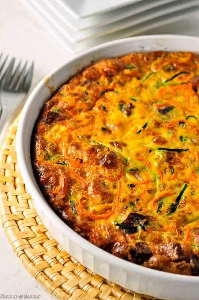 Paleo Zucchini Carrot Quiche with Bacon