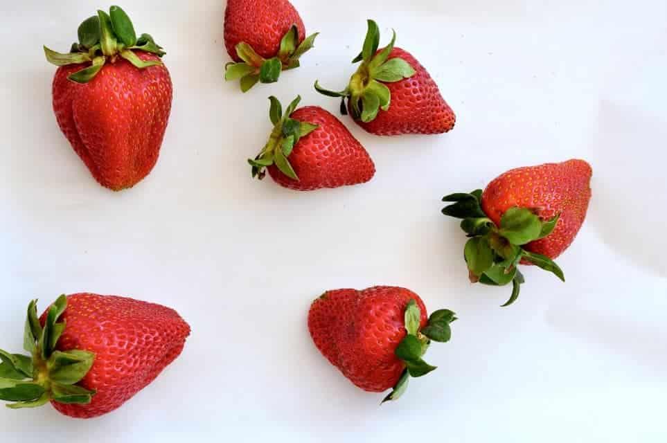 Fresh strawberries for Strawberry Rhubarb Smoothie.