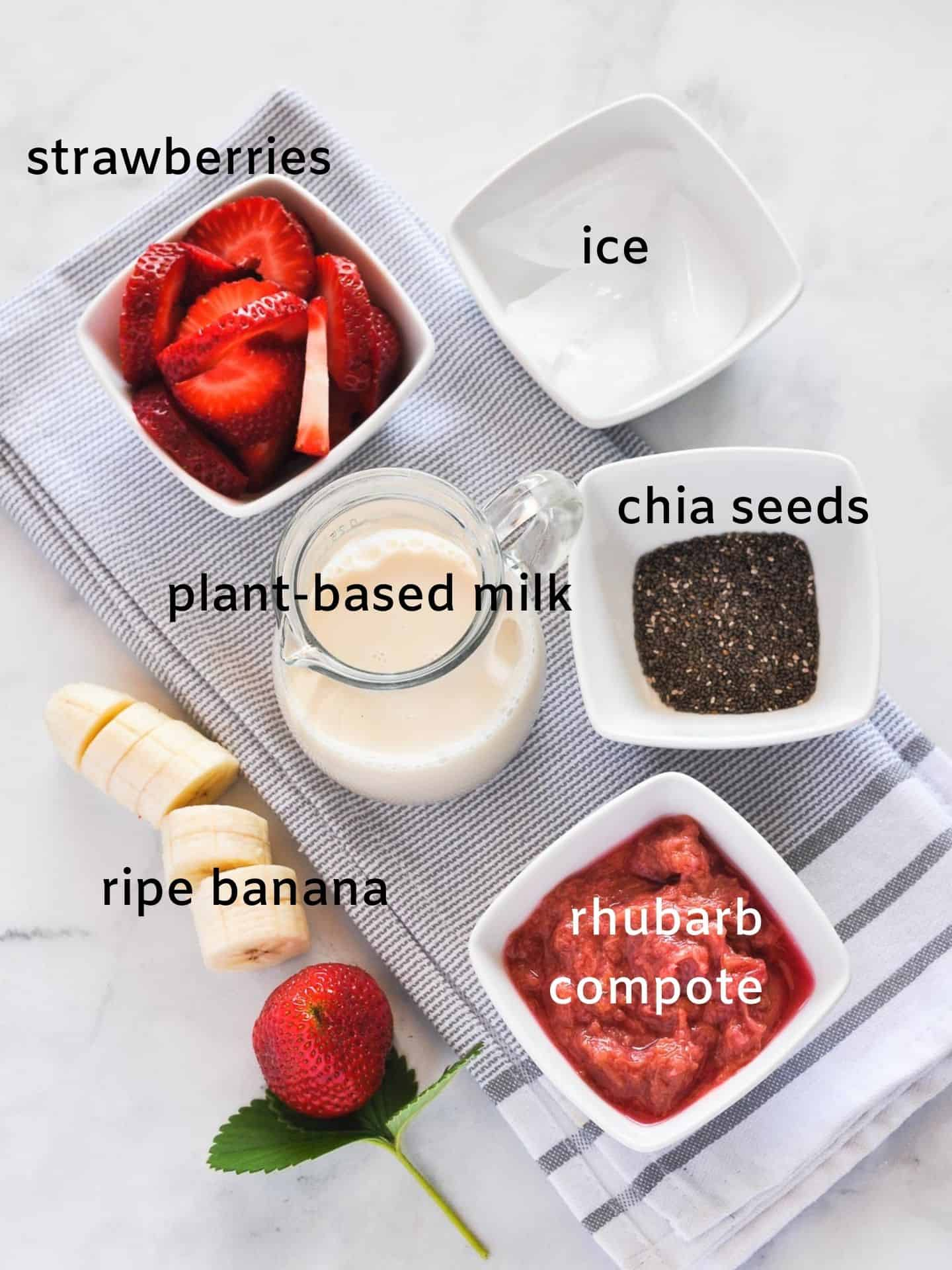 Labeled ingredients for Strawberry Rhubarb Smoothie