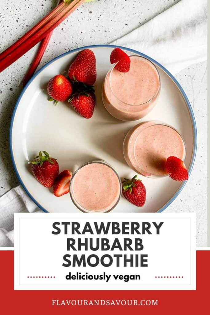 Pinterest pin for Strawberry Rhubarb Smoothie