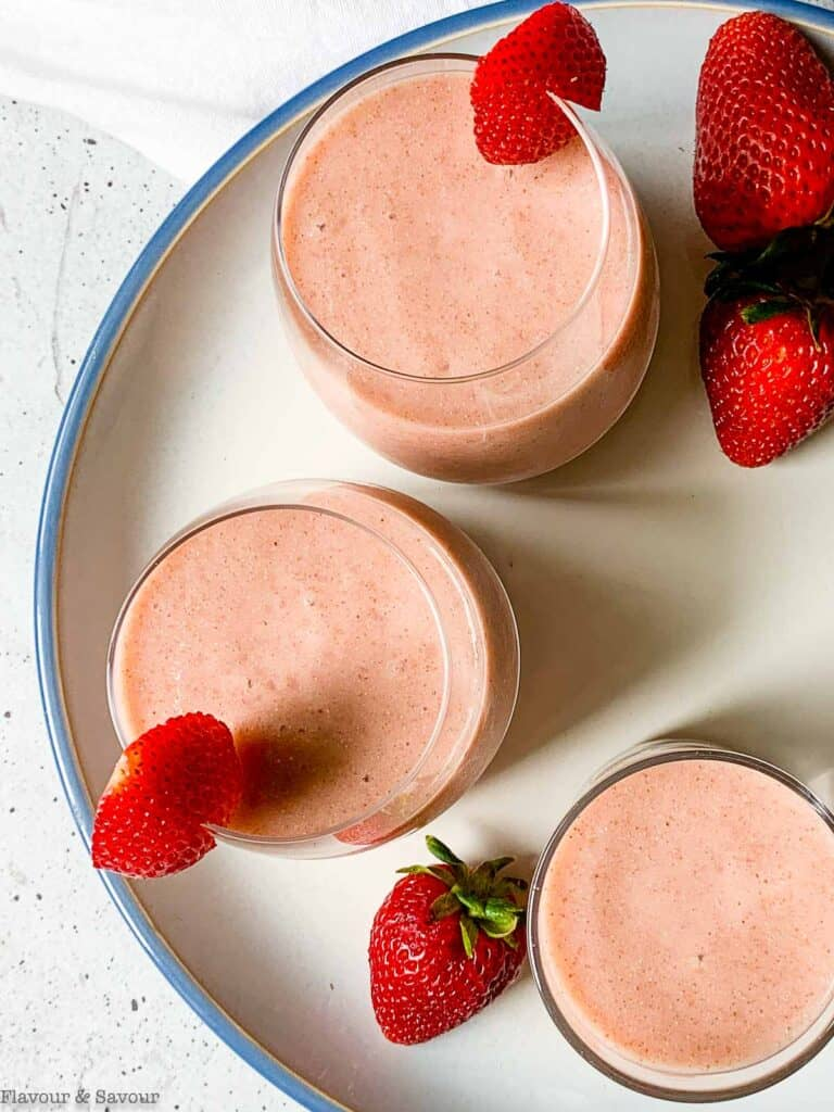 close up view of rhubarb smoothies