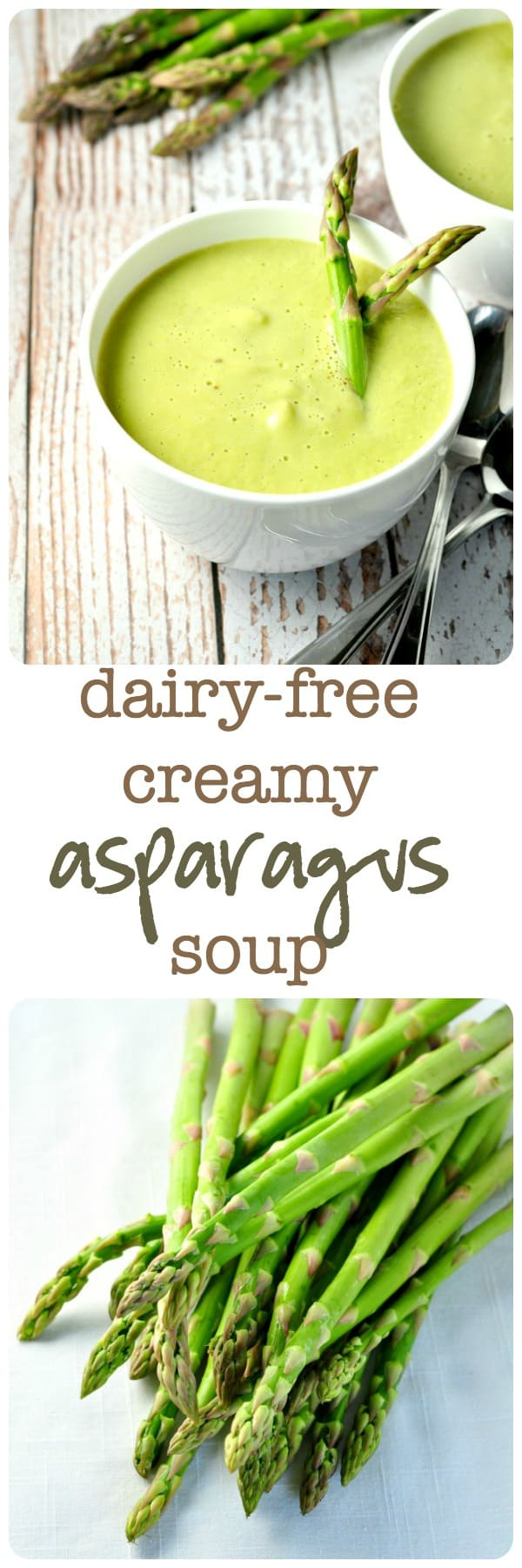 Dairy-Free Creamy Asparagus Soup--rich and creamy without the cream! Paleo and Vegan |www.flavourandsavour.com