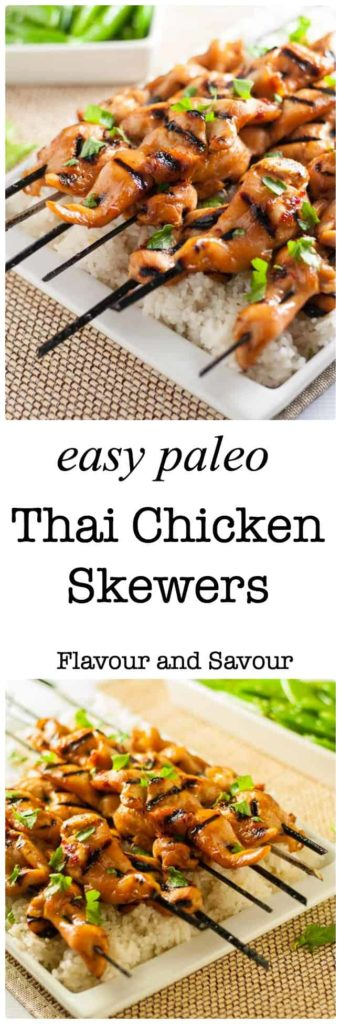Easy Paleo Thai Chicken Skewers. They're sweet, spicy and succulent! |www.flavourandsavour.com