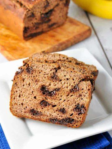 Paleo Chocolate Chip Banana Bread. Grain-free, moist and tender banana bread!