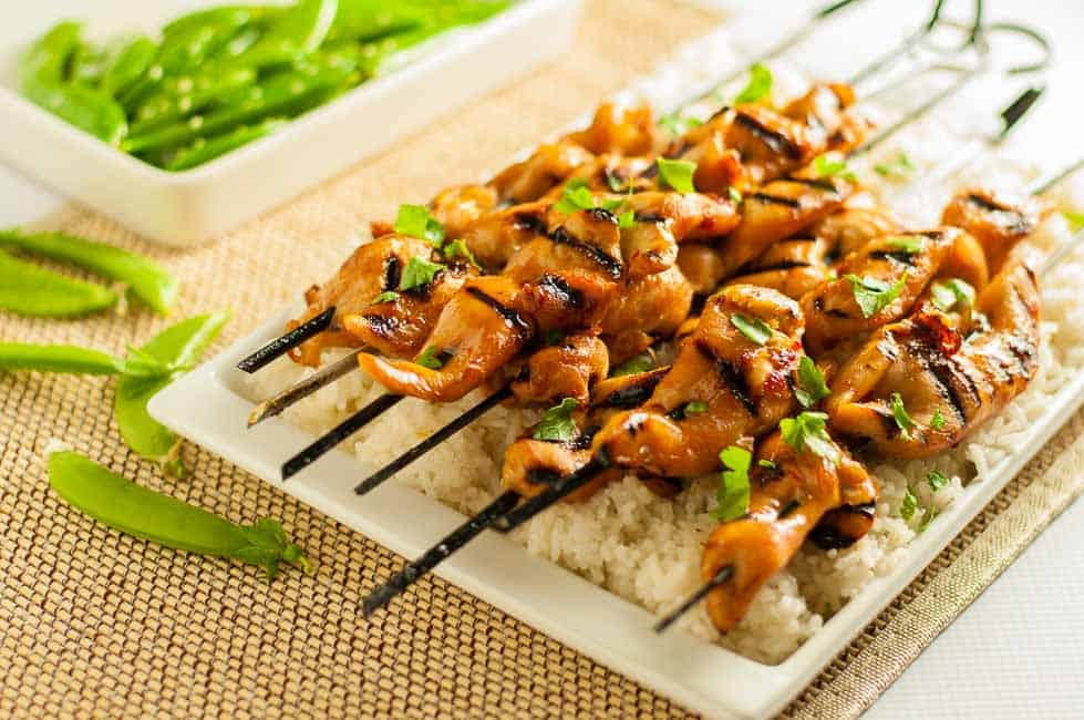 Easy Thai Chicken Skewers ready to serve