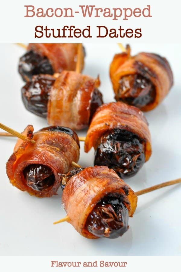 Bacon Wrapped Stuffed Dates on toothpicks. Game Day Finger Foods