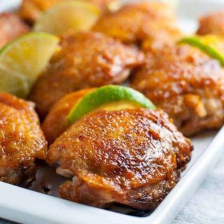 This recipe for Chipotle Peach Glazed Chicken is easy and needs only 4 ingredients. Crispy chicken with a glaze that's sweet with a little heat. And it's paleo too! |www.flavourandsavour.com