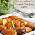 Easy Chipotle Peach Glazed Chicken Thighs with lime slices
