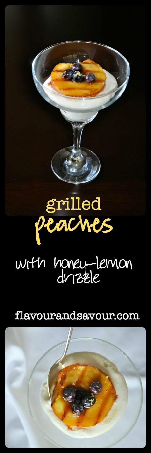 Grilled Peaches with honey-lemon drizzle. Decadent, delicious, but quick and easy. Serve with whipped cream or keep it Paleo and dairy-free with whipped coconut milk.