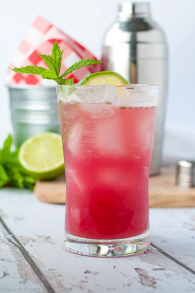 Rhubarb Mint Mojito is a refreshing drink for spring and summer outdoor parties.