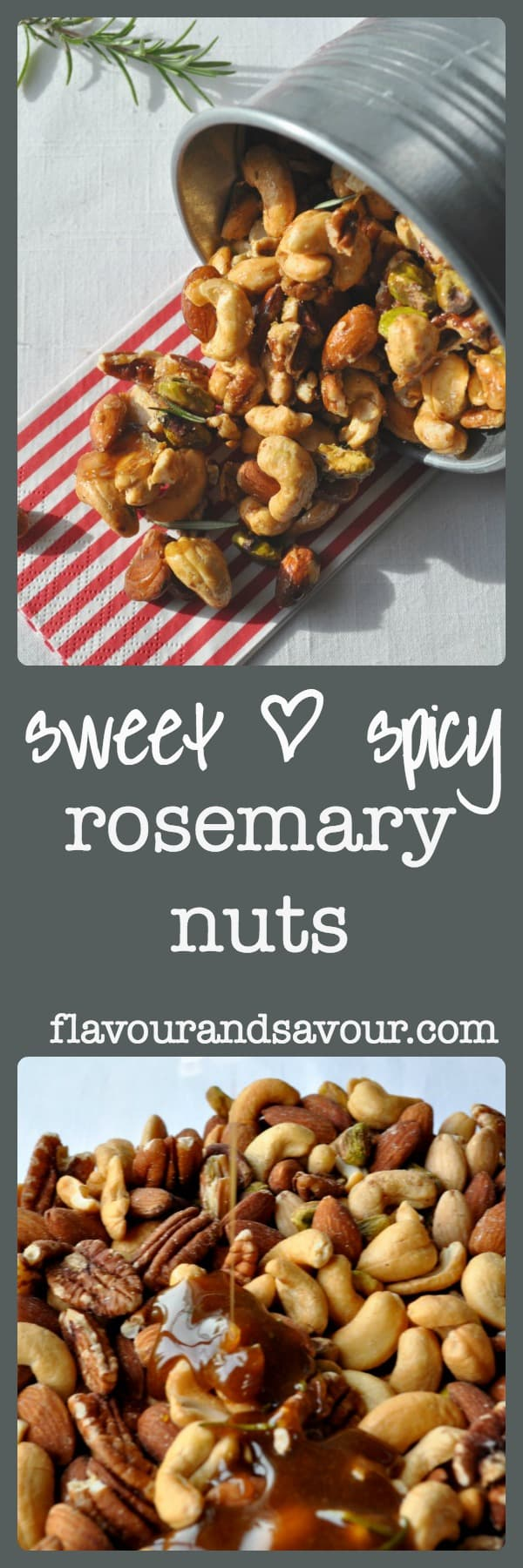 Sweet and Spicy Rosemary Nuts make an ideal hostess gift for the holidays. Printable tags included!