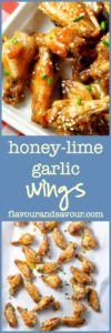 Honey-Lime Garlic Chicken Wings. Crispy, sweet and tangy.|www.flavourandsavour.com