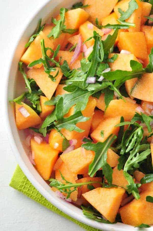 Cantaloupe Arugula Salad - Flavour and Savour