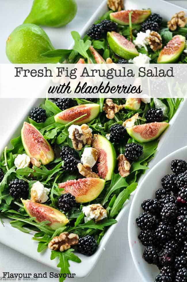 Fresh Fig Arugula Salad with Goat cheese, walnuts and blackberries title