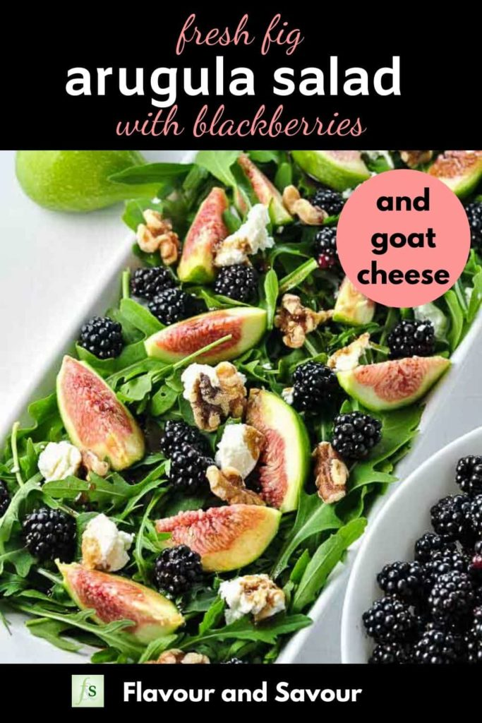 Pinterest pin for Fresh Fig Arugula Salad with Blackberries