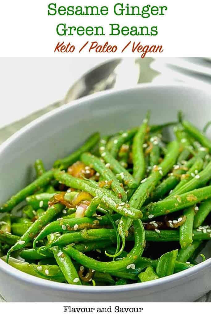 A white oval bowl of Sesame Ginger Green Beans