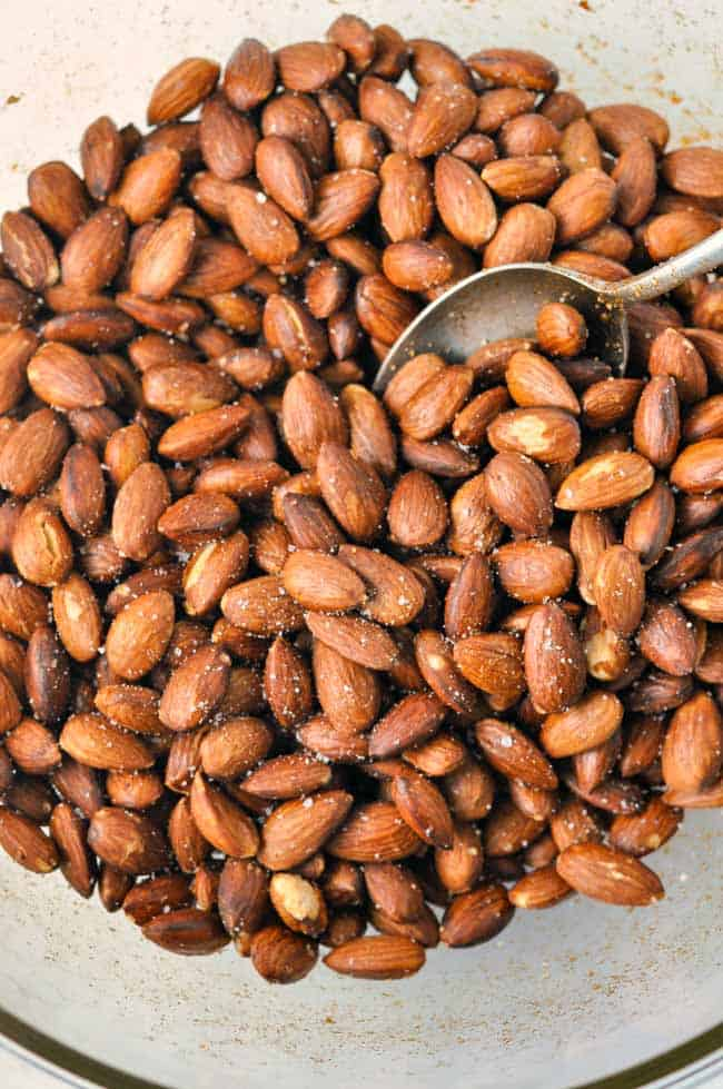 Spanish Spiced Almonds. Easy, healthy, authentic Spanish tapa of Almendras Fritas