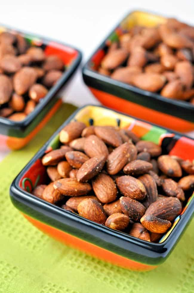 Spanish Spiced Almonds in small bowls.