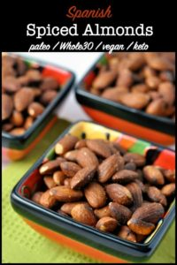 Spanish Spiced Almonds Tapas in small red bowls