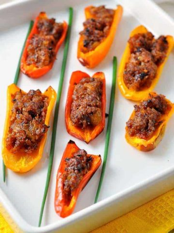 Spicy Stuffed Mini Peppers. An ideal Spanish appetizer.