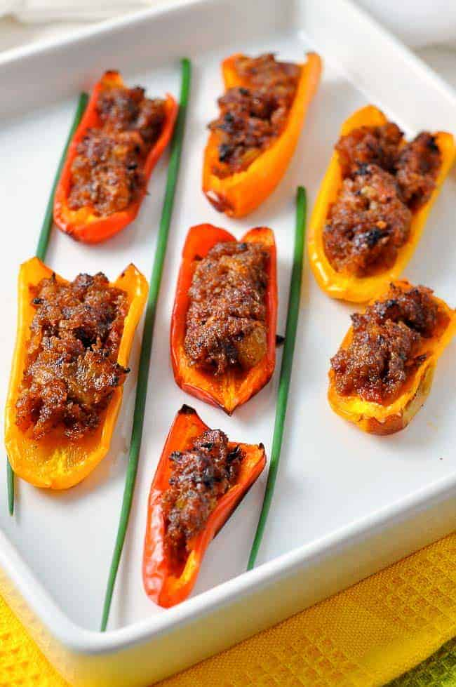 Spicy Stuffed Mini Peppers. An ideal Spanish appetizer that can be made ahead of time.