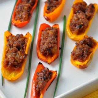 Spicy Stuffed Mini Peppers. A scrumptious Spanish tapa that can be made ahead of time. |www.flavourandsavour.com