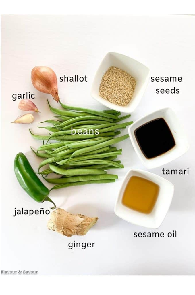 Labeled ingredients for Sesame Green Beans