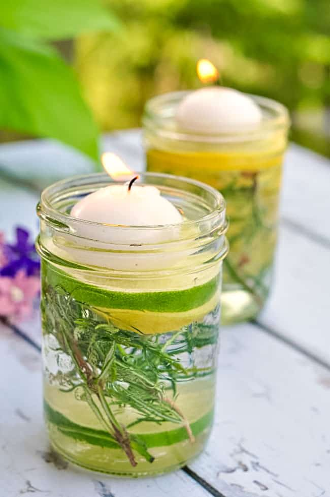 Natural bug Repellent Luminaries using essential oils. Light before your guests arrive to help ward off insects and add a magical touch to your table setting. |www.flavourandsavour.com