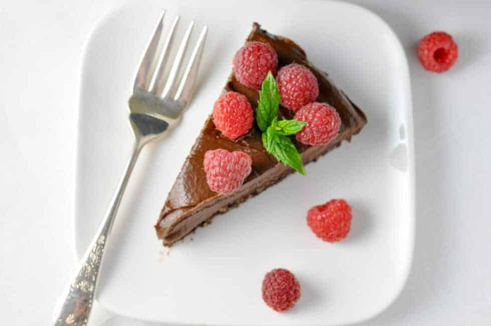 Double Chocolate Mousse Torte. No-bake vegan dessert.