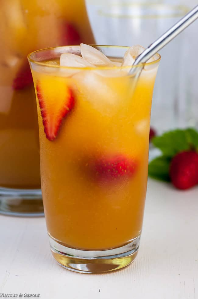 Peach Ginger Iced Tea close up view