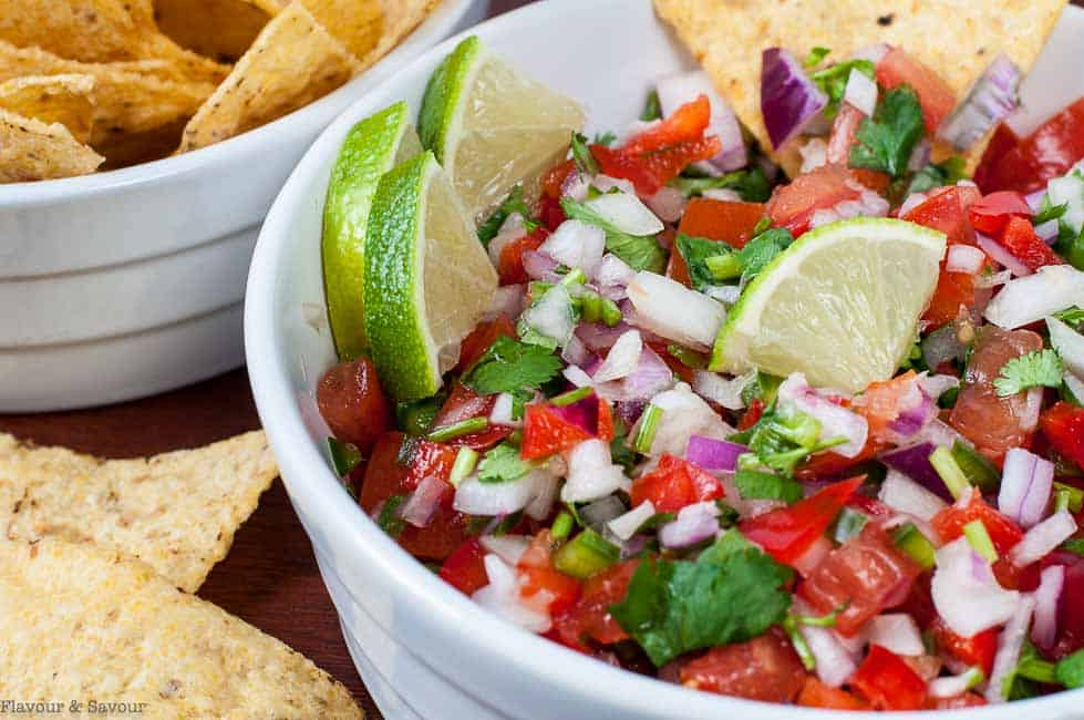 Close up view of fresh salsa