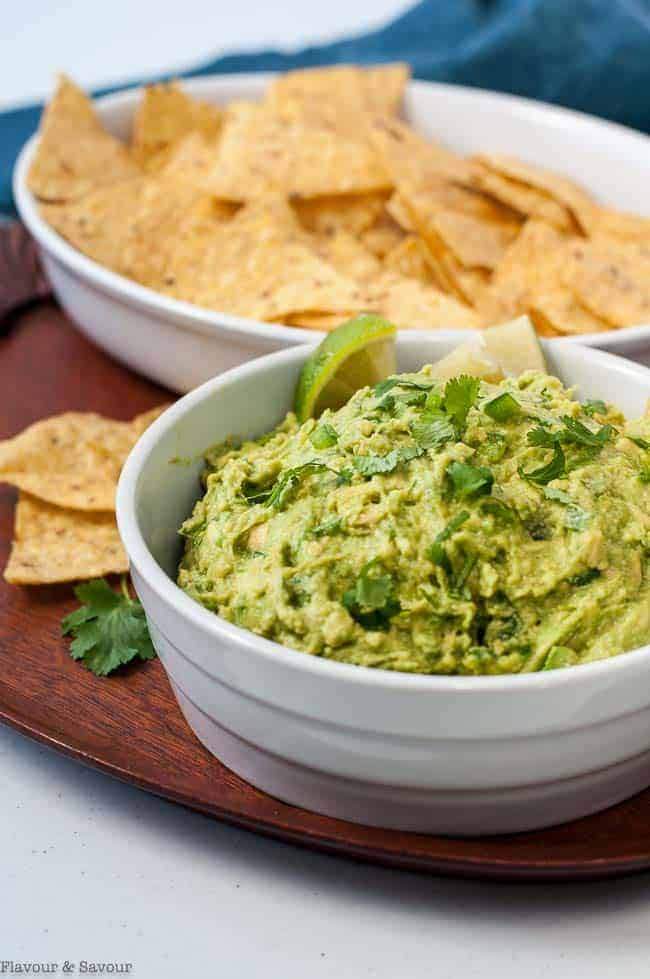 Quick Chunky Guacamole with tortilla chips