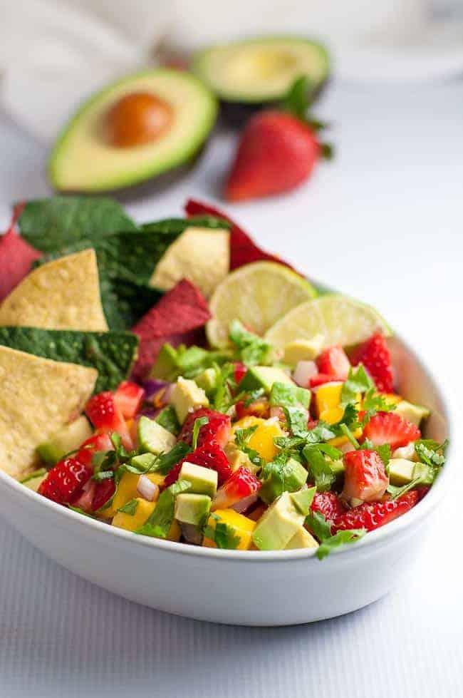 Strawberry Mango Guacamole with tortilla chips