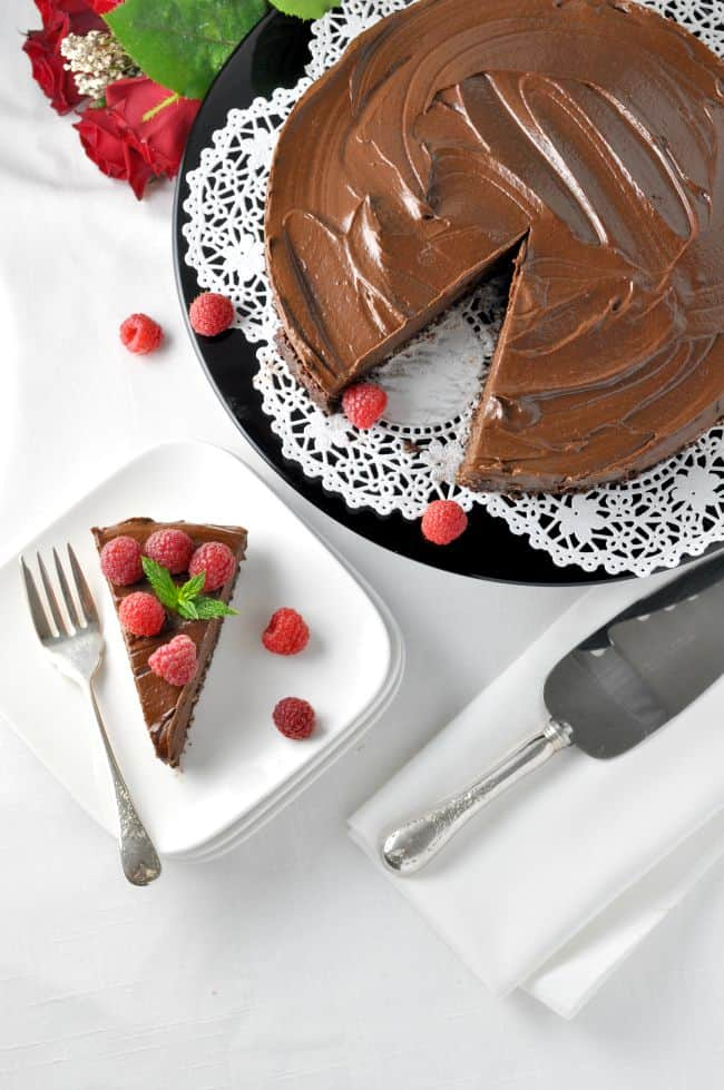 Double Chocolate Mousse Torte. Decadent, delicious, dairy-free, gluten-free and vegan! flavourandsavour.com