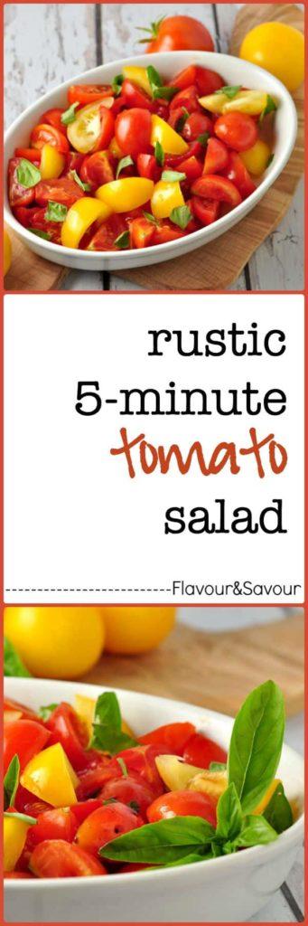 5-minute Rustic Tomato Salad with Fresh Basil |flavourandsavour.com
