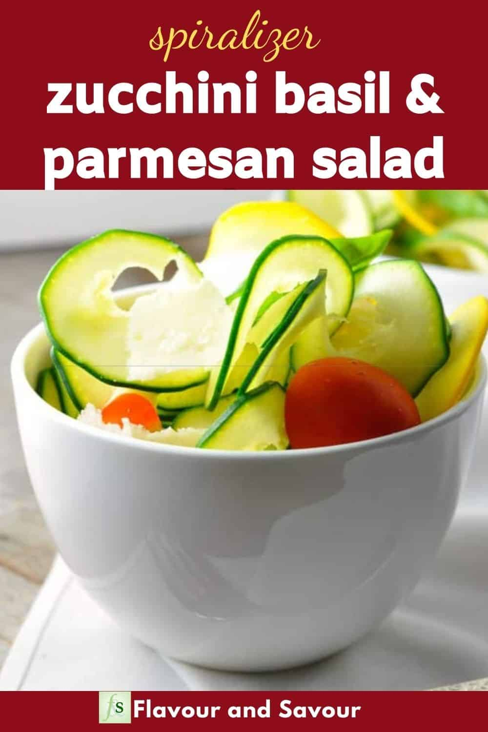 Image with text overlay for Zucchini Basil Parmesan Salad