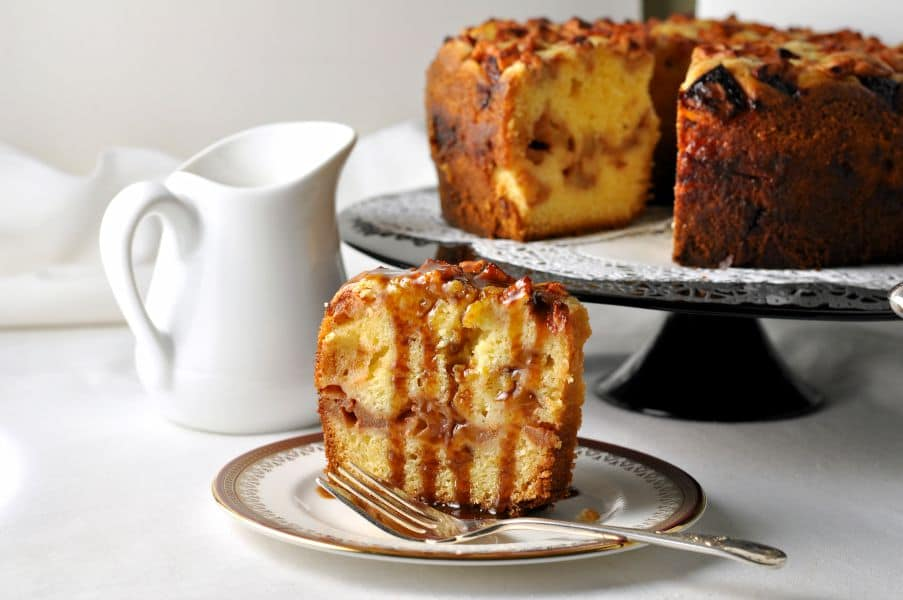 Apple Cake with Warm Salted Caramel Sauce from Flavour and Savour