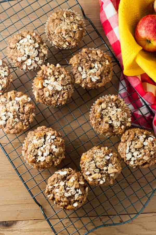 Grab and Go Apple Oatmeal Breakfast Muffins on a cooling rack.